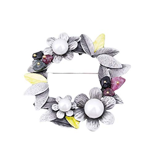 TOSLEJF Grava broche de perlas - Moda salvaje ramillete bufanda hebilla Accesorios (5,5 * 5,5 cm)
