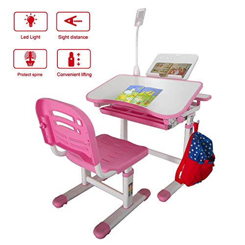 KUBABA Kids Desk and Chair Set Height Adjustable Writing Student Desk Drafting Table Pull Out Spacious Storage Drawer, Kids Study Table with Tilted Desktop(Pink)