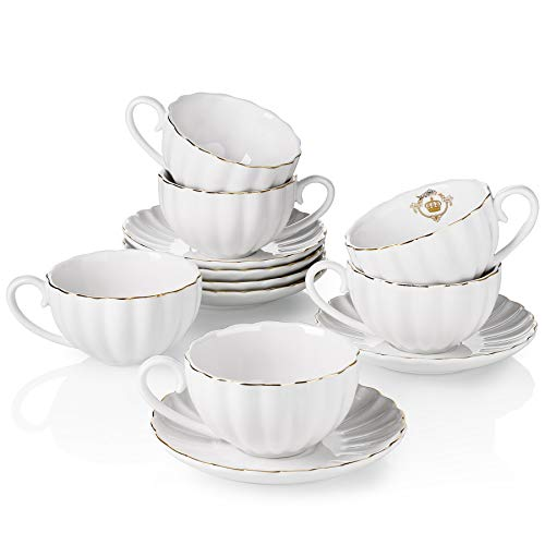 Amazingware Royal Tea Cups and Saucers, with Gold Trim and Gift Box, British Coffee Cups, Porcelain Tea Set, Set of 6 (8 oz)- White