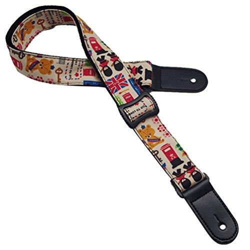 Dooxii Dibujos Animados Patrón Folk Guitarra Vistoso Bajo Eléctrico Ajustable Longitud Correa De La Guitarra Eléctrica 1 5cm*135-150cm