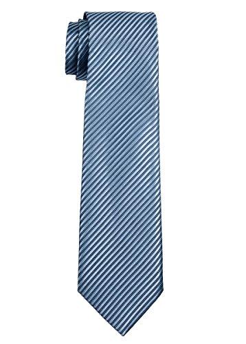 Retreez Jungen Gewebte Krawatte Textur Gestreifte - 8-10 Jahre - blaugrau