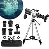 Vogvigo Telescopio astronómico, telescopio Profesional HD para Adultos y niños con 3 oculares giratorios Pro Telescopio astronómico Refractor de 400-70 mm con trípode Adaptador de teléfono buscador