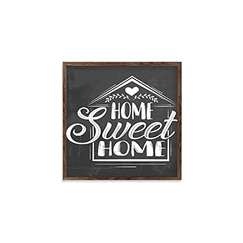 BYRON HOYLE Home Sweet Home - Señal enmarcada de madera para colgar en la pared, decoración del hogar, arte de pared para sala de estar, 12 x 12