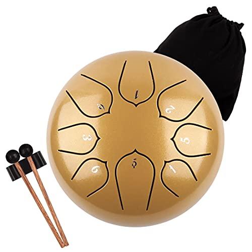 LOMUTY 6 Pulgadas 15 CM Tambor de Lengua de Acero-8 Notas Clave C Instrumento de Percusión - Hand...