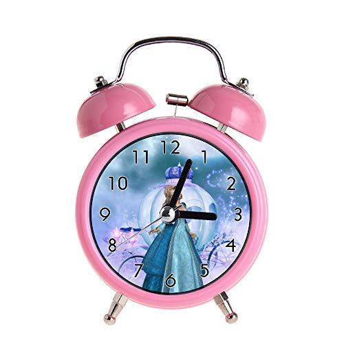 PAEEG Kinder Wecker Vintage Retro Silent Pointer Uhren Runde Nummer Dual Bell Loud Pink Wecker Nacht Nachtlicht Home Dekore Cinderella Watch