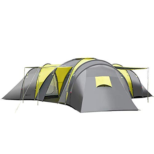 CASART 3+1 Rooms Camping Tent- 9 Person Large Family Festival Tunnel Tent With 3 Sleeping Rooms, Sun Canopy, 205cm Peak Height, Water-resistant Wind-proof