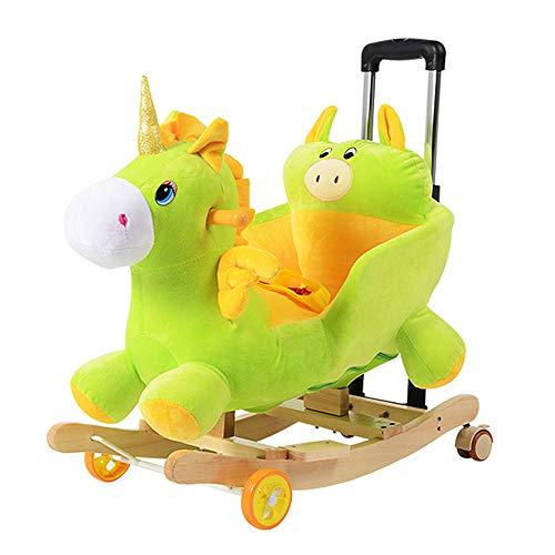 WANGXN vroege educatieve muziek cartoon dual use massief houten schommelpaard babyschommelstoel auto 4-48 maanden