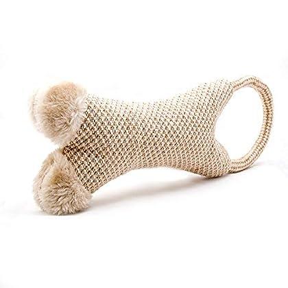 Natürliches Welpenspielzeug aus weichen Materialen - schont die empfindlichen Milchzähne durch weiche Baumwolle und Plüscheinlagen mit eingenähten Quitschi für den besonderen Spaß und langer Freude an dem Hundespielzeug Robustes Baumwollseil als Ring...