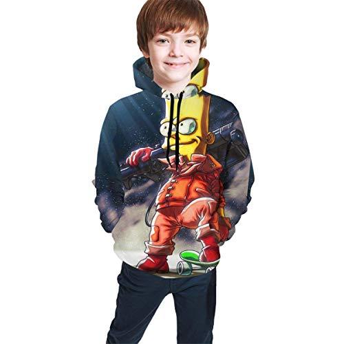 Hidend Kinder Kapuzenpullover Sweatshirt, Bart-Simpson Comfortable Teen Hooded Sweater Black