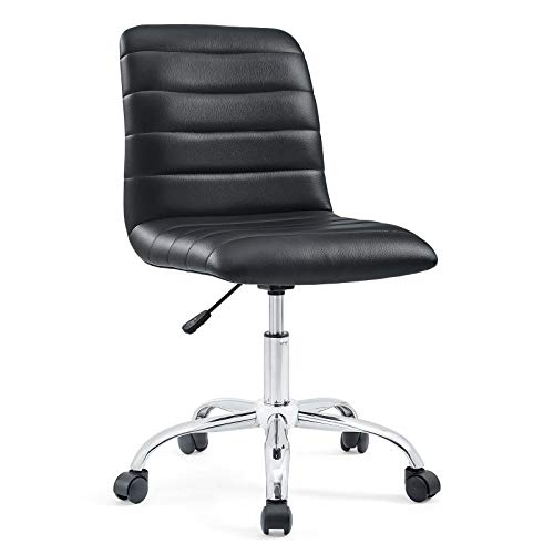 Modway Ripple Ribbed Armless Mid Back Swivel Computer Desk Office Chair In Black