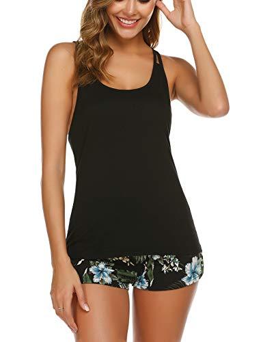 Ekouaer Sleepwear Tank Top Pajama Set Racerback Pajamas Cami Loungewear for Women