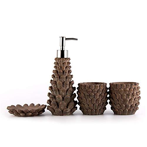 Dispenser di sapone liquido per le mani ricaricabi Quattro pezzi Pure Resina Bagno Set Bagno Cucina Sink Sink Dispenser Sanitizer Sanitizer Shampoo Gel Doccia Bottiglia vuota Distributore di igienizza