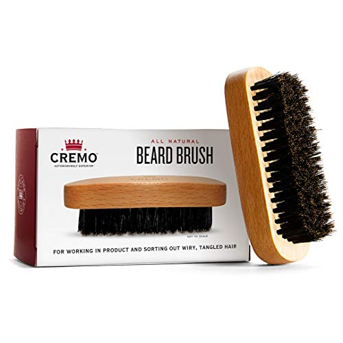 Cremo 100% Boar Bristle Beard Brush With Wood Handle To Shape, Style And Groom Any Length Facial Hair