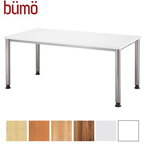 bümö® Schreibtisch höhenverstellbar   Bürotisch in 6 Farben & 8 Größen verfügbar   Büroschreibtisch(Weiß, Rechteck: 160x80 cm)