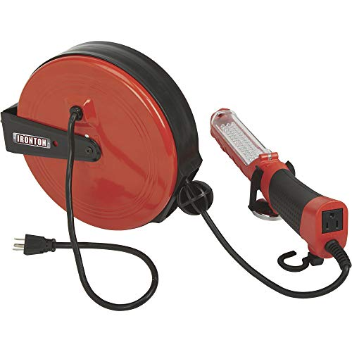Ironton Retractable Extension Cord Reel with Worklight - 30ft. 16/3, LED Light