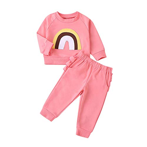 2Pcs Girls Pants Set Rainbow Print Long Sleeve Pullover T-Shirt Tops Ruffle Pant Clothes Outfits (Pink, 6-9 Months)