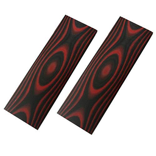 2 Stücke G10 Messer Scales Handle Material,Knifemakers Sword DIY Slabs Grips Micarda Slab Material (Schwarz&Rot)