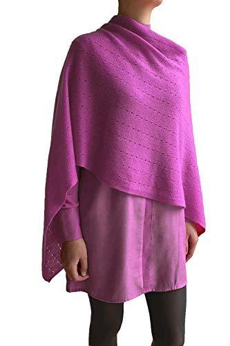 Poncho de cachemir para mujer, bufanda de viaje, chal con botones, de punto, pashmina, portátil, ligera, multisentido, 100% puro, regalo ético, frambuesa, rosa suave