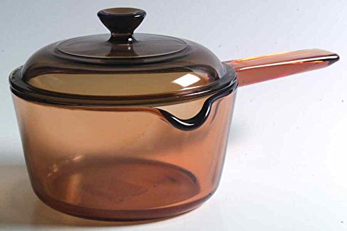 Vintage Corning Ware Pyrex VISION Visions Visionware AMBER ALL GLASS 1 Quart / 1 Litre 6' inch SAUCEPAN with BUILT-IN POUR SPOUT + Cover/Lid MADE IN USA