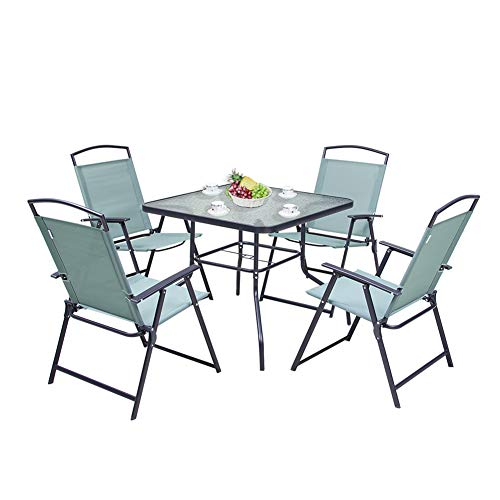 dining set with foldable chairs Pellebant Patio Dining Set of 5,Square Glass Table and 4 Folding Chairs Antirust Coating and Easy Install, Green