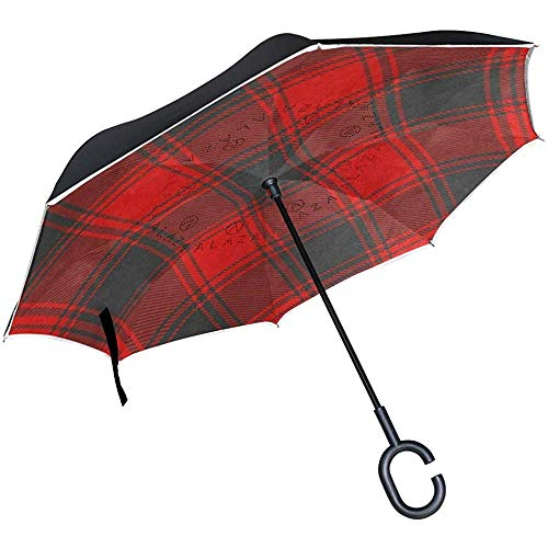 Reverse Umbrella Schwarz Roter Buffalo Plaid Inverted Umbrella Reversible Outdoor Schwarz
