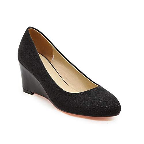 Zapatos Gruesos para Mujer Lentejuelas de Fondo Suave al Aire Libre Primavera Otoño Zapatos de cuña de Moda para Caminar Resistentes al Desgaste