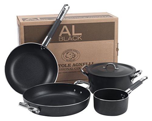 Pentole Agnelli ALSASETALBLACK4 All Black Set per 4 Persone, 3 mm, 5 Pezzi
