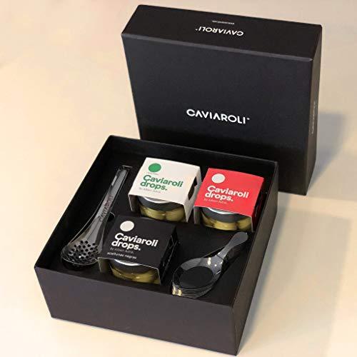 Caviaroli - Estuche Gourmet Drops - Pack con las 3 Variedades de Aceitunas Esferificadas de Albert Adriá