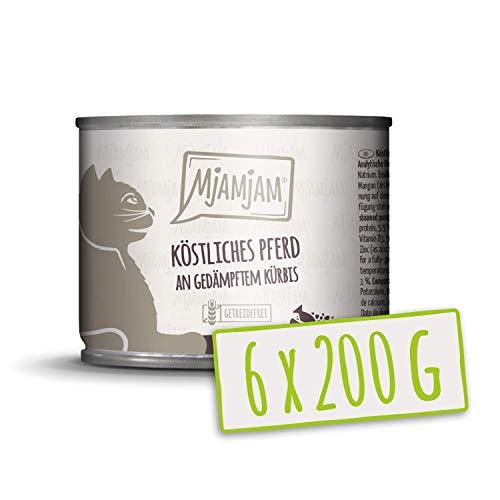 MjAMjAM - Premium Nassfutter für Katzen - köstliches Pferd an gedämpftem Kürbis, 6er Pack (6 x 200 g), getreidefrei mit extra viel Fleisch
