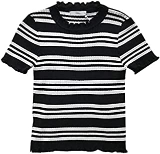 Wxcgbdx Womens T Shirts, Ladies Short-sleeved Striped Ice Silk Sweater Student Slim Bottoming Shirt Blouse (Color : Black...