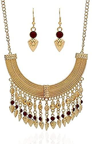 Vintage exagerado Lujo Borla Joya Collar Tallado a Mano étnico Gitano bangladesí Collar Pendiente Conjunto