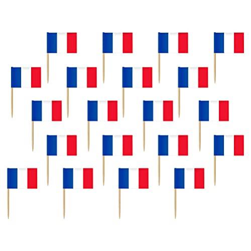 TOYANDONA 200Pcs Frankreich Flagge Zahnstocher Cupcake Topper Cocktail Zahnstocher Kleine Mini Stick Cupcake Topper Französisch Fahnen Lebensmittel Dekoration für Welt Land Sport