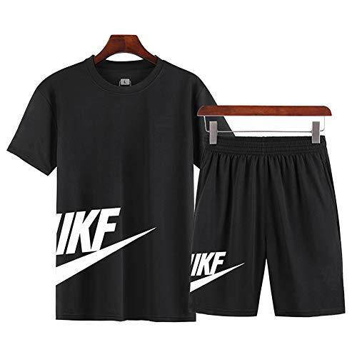 Tuta Sportiva da Uomo Estiva, Maglietta A Maniche Corte + Pantaloncini, Tuta Ad Asciugatura Rapida, Utilizzata per Esercizi in Palestra E Corsa (5XL,Black)