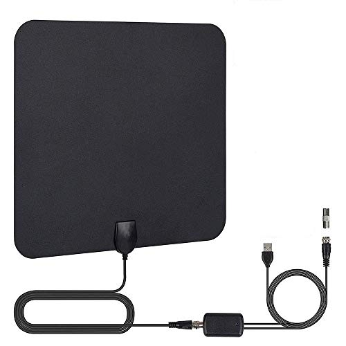 TV Antenna, 2019 Newest HDTV Indoor Digital Amplified Antennas,50-80 Miles Long Range with Amplifier Signal Booster for 1080P 4K Free TV Channels, Amplified 13ft Coax Cable (Black-1)