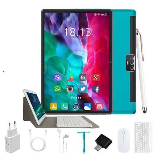 Tablet 10 Pulgadas Android 9.0 - Tableta 4GB RAM 64GB ROM con Procesador Quad Core Núcleos   WiFi   Bluetooth   GPS  OTG   Netflix, MicroSD 4-128 GB, con Estuche Teclado/Mouse/Funda Tablet (Azul)