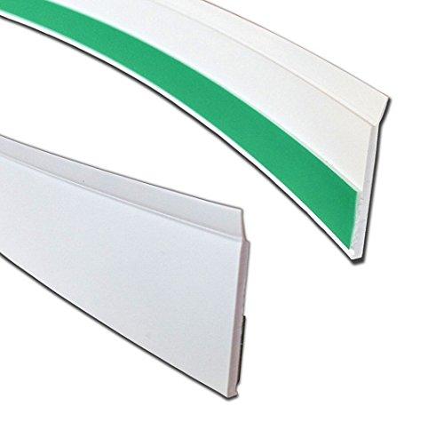 BawiTec Kunststoff Flachleiste mit Lippe Abdeckleiste weiß selbstklebend Abdeckprofile (50mm)