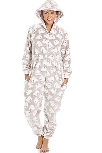 Schlafanzug-Overall mit Kaupuze - weicher Fleece - Grau mit weißem Bärenmuster 38/40