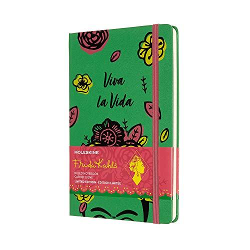 Moleskine Limited Edition Frida Kahlo Notizbuch, Notizblock mit linierten Seiten, Hardcover und elastischem Verschluss, Großes A5-Format 13 x 21 cm, Farbe Grün, 240 Seiten