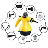Vaporeta de limpieza de mano portátil potente y multiusos para quitar manchas en tapicería de coche, hogar, cocinas, alfombras, cristales, sofá | vaporizador limpiador a vapor con 9 accesorios