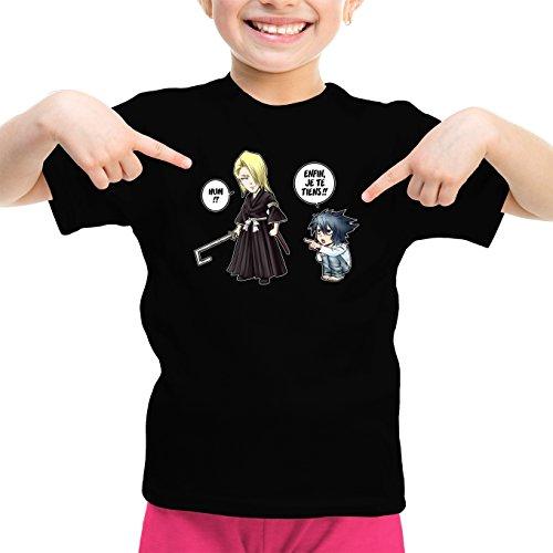 Okiwoki T-Shirt Enfant Fille Noir Bleach - Death Note parodique Kira, L et Light Yagami : Erreur sur la Personne. (Parodie Bleach - Death Note)