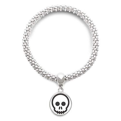 DIYthinker Womens Frank Zwart Skeleton Chat Emoji Sliver Armband Ronde Hanger Sieraden Ketting