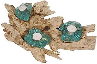 2er Teakholz-Teelicht 2er Tropenholz Teelicht 2er Wurzelholz Teelicht