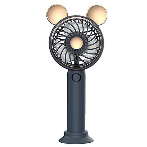 Yeah-hhi Mini Ventilador Personal Portátil Ventilador De Mano Ajustable De 3 Velocidades Bateria Cargada con Luces De Colores, para El Hogar, Dormitorio, Interior, Exterior, Viajes,Azul,15.5 * 7cm