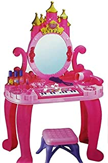WP Kids Children Piano & Vanity Castle Dressing Table & Stool TOCADOR 13 Key Sound & Light Stool Girls Play Set Toy Hair Accessories & Real Blowing Action HAIRDRYER