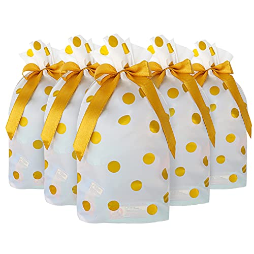 50 PCS 6x9 Inch Treat Bags Party Favor Bag Gold Dot Plastic Drawstring Gift Bags With-Tie for Christmas, Birthday, Wedding. Candy Goodies Bags Food Storage Bags Gift Wrapping