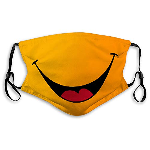 NYNELSONG Mouth Masks Adjustable Reusable Men Woman Kids Face Cover Anti Dust Outdoor Unisex Smile Smiley Cartoon Face mask