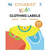 All Purpose No-Iron Kids Clothing Labels, Self-Stick Write-On Fabric Labels for Camp, School, Daycare, Nursing Care, Toys, Organizing, Washer & Dryer Safe, Pack of 80