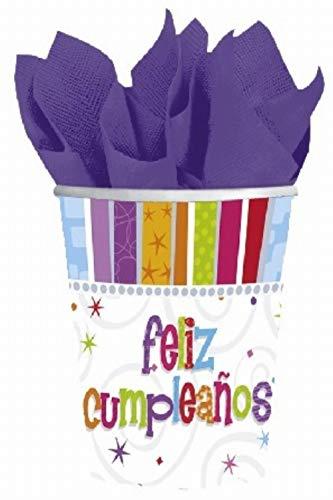 8 Pappbecher Radiant Birthday - Herzlichen Glückwunsch auf Spanisch: feliz cumpleanos 266 ml