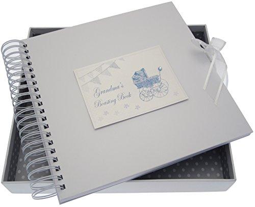 White Cotton Cards Carte de grand-mère pousse/livre de mémoire (Bleu Landau et fanions)