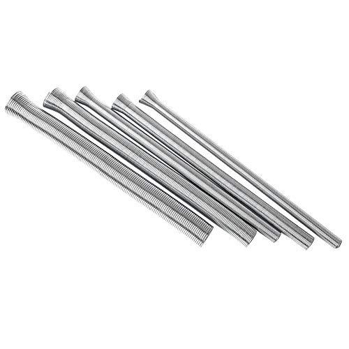 """Kits de doblador de tubos de resorte de alambre de acero, 5 piezas, juego de resortes de flexión de tubo, resorte de tubería de fontanería, 1/4"""", 5/16"""", 3/8"""", 1/2"""", 5/8"""" (plata)"""
